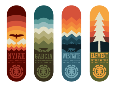 Element Skateboards WIP patches apparel graphics identity typography branding illustration