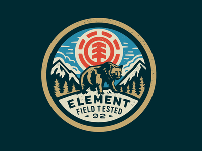 Element Bear patches apparel graphics identity typography branding illustration