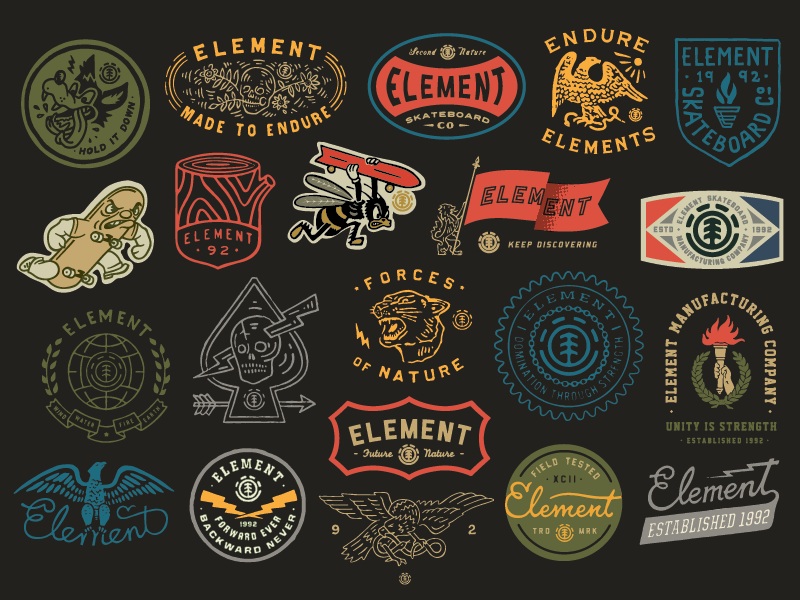 Element patches apparel graphics identity typography branding illustration