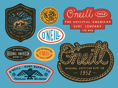 O Neill patches apparel graphics identity typography branding illustration