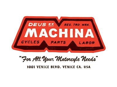 Deus Ex Machina - Motorcycle Needs patches apparel graphics identity typography branding illustration
