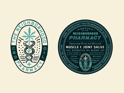 Neighborhood Pharmacy Label patches apparel graphics identity typography branding illustration