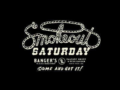 Banger's Smokeout Saturday patches apparel graphics identity typography branding illustration