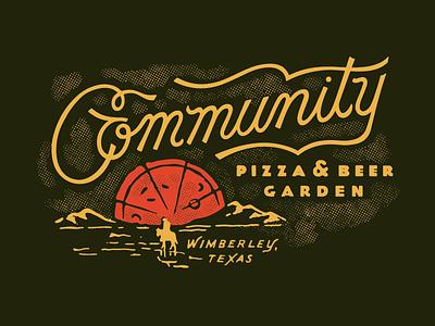 Community Pizza & Beer Garden illustration script logo branding restaurant