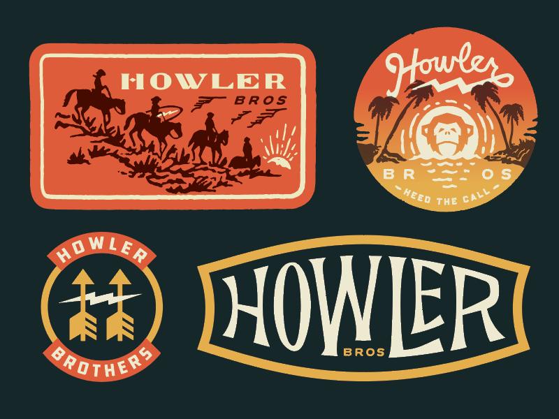 Howler Bros identity graphic design branding illustration graphics logo patches typography apparel