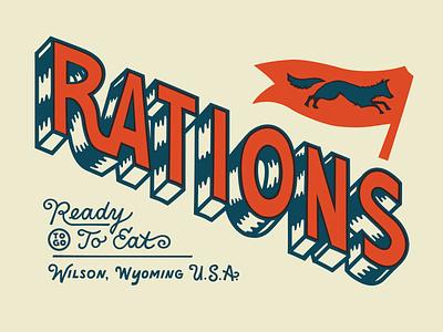 Rations fox illustration apparel design restaurant patches identity typography branding