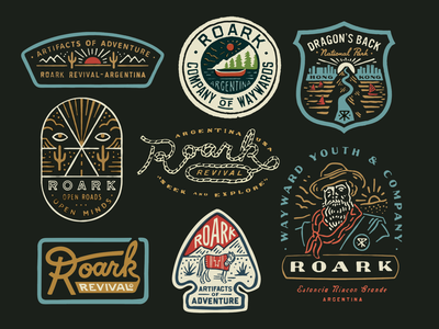 Roark Revival graphics logo design graphic design illustration typography packaging patches apparel identity branding