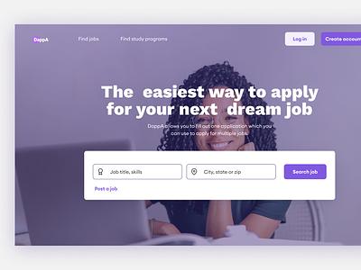 Job application hero section webdesign ux design product design ux design figmadesign