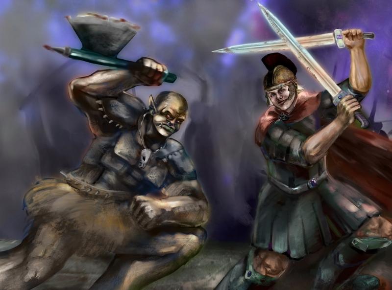 War scene character orc fantasy warrior illustration artwork war