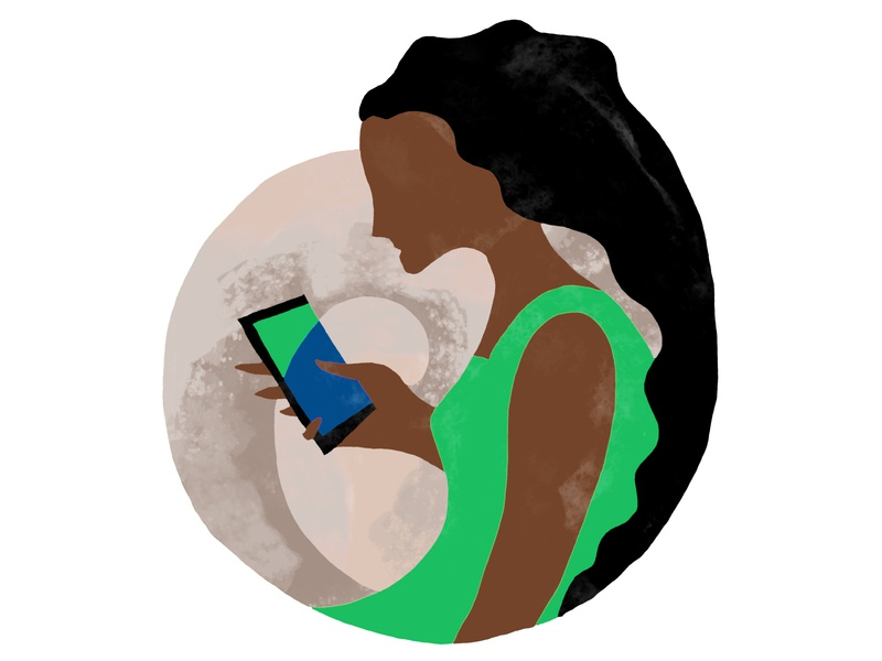 Lost in a smartphone painting collage illustration mobile user experience app smartphone