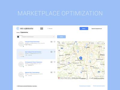 Marketplace optimization UI/UX search map data marketplace interface ux ui