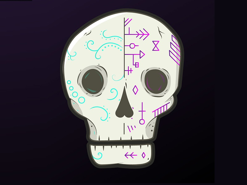 Skull Color - round 2 skull vector gradient simple illustration
