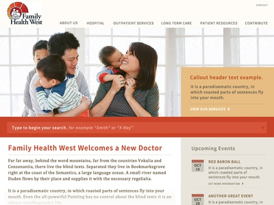 Medical site typography & page layout concept - round 2