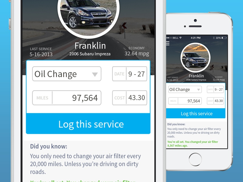 Car Maintenance App (Eddie) - Add service screen app iphone car maintenance tracking ios7