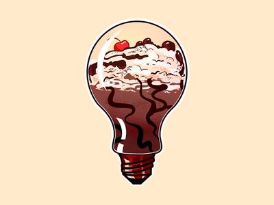 Milkshake idea bulb milkshake draw vector illustration