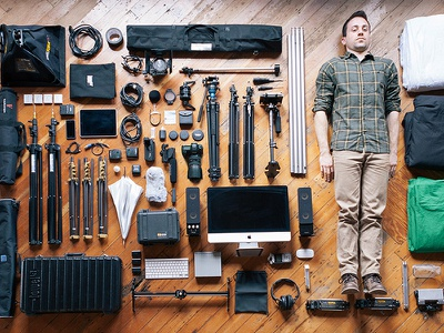 A Man & His Tools equipment colin garven urban influence gear cameras film photography design layout neatly things floor