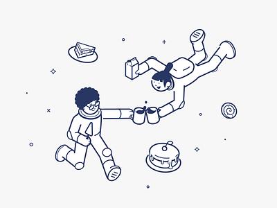 Space Fika outline illustration line stroke character