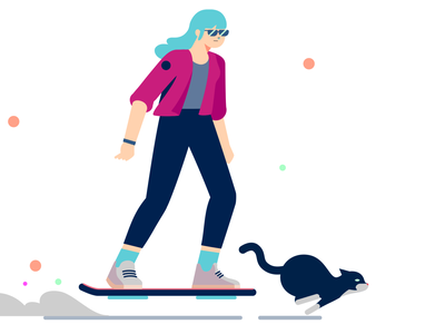 Hoverboarder and Cat flat illustration character