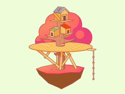 Tree House stroke outline tree house treehouse tree