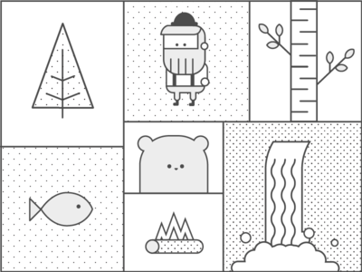 The Wild Grid outline animal wild line pattern bear forrest tree stroke log fish waterfall