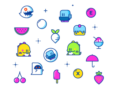 Bubble Bobble Sprites flat stroke outline food dragon bubble nintendo 8bit nes
