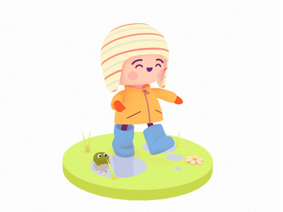 Walking in the Rain 3d character animation
