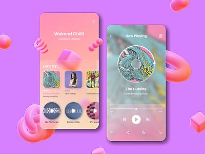 Music App Design illustration music glassmorphism app player 3d design typography web ux