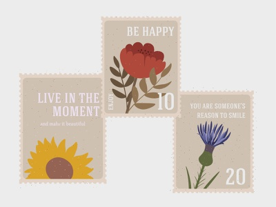 vintage retro postmark flowers, leaves concept quote card postage