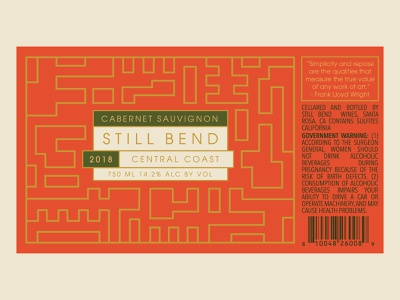 Still Bend Wine Label logo brand identity brand geometric illustration design wine wine label packaging package design beverage packaging frank lloyd wright wisconsin architecture alcohol branding wine bottle label design vintage
