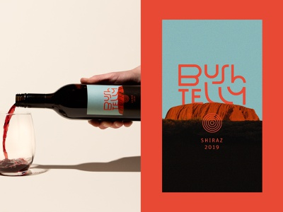 Bushtelly Wine Label outback uluru shiraz wine australia packaging design label design alcohol branding beverage packaging wine label print packaging wisconsin design illustration brand lettering wordmark typography logo