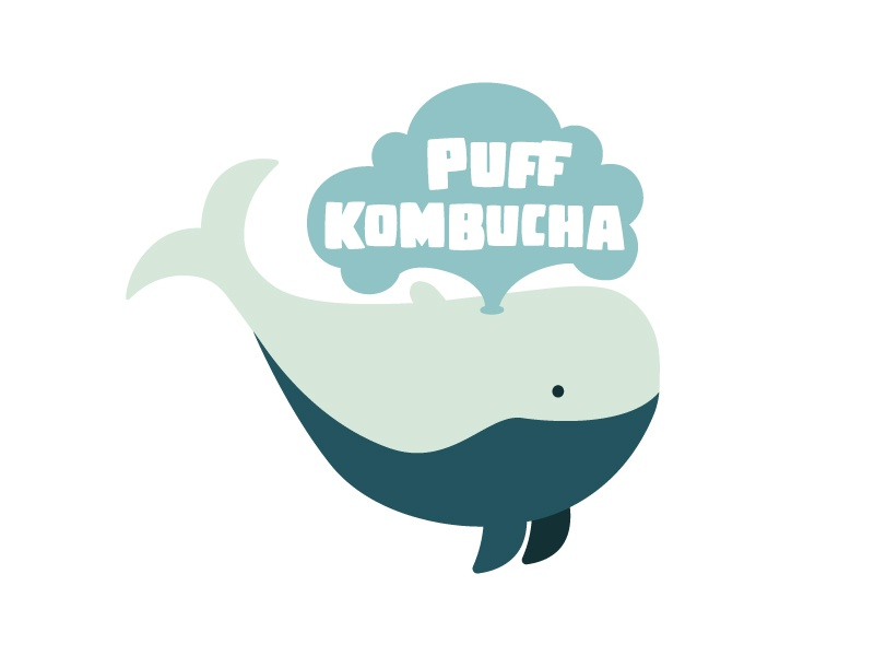 Puff Kombucha brand identity kombucha whale logo