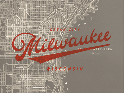 Milwaukee Map Print historical map mke wisconsin wordmark calligraphy identity city logo hand lettering lettering milwaukee