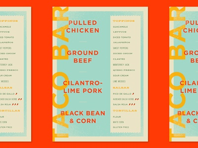 Taco Bar Menu food party print poster layout design menu taco