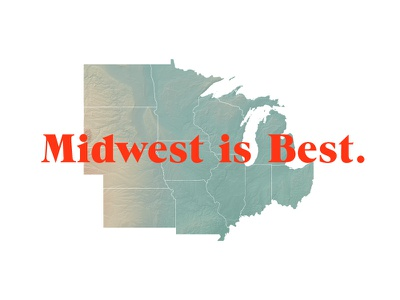 Midwest is Best map minimal typography design type wisconsin print midwest