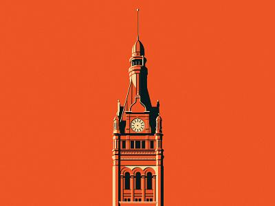 Milwaukee City Hall posterized minimal landmark wisconsin architecture 2d digital milwaukee illustration digital
