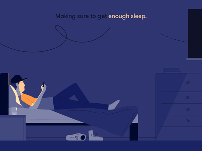 Making sure to get enough sleep health wellbeing teenager relax glow technology phone social media scrolling late night late alone bedroom bed sleep home people michael mcmahon illustration 2d