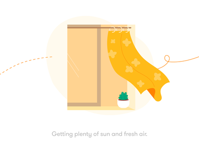 Getting plenty of sun and fresh air well being health comfort inside fresh curtain light nature window breeze sun air home michael mcmahon illustration 2d