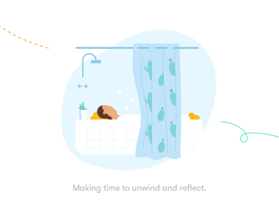 Making time to unwind and reflect break bathroom bathtime rubber duck pause mindfulness health wellbeing meditation time unwind reflection bath relax michael mcmahon illustration 2d
