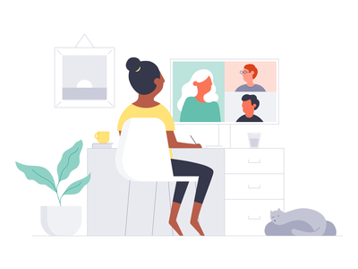 Managing Remotely homeoffice collaborate team manager remote working remote digital video meeting office workplace people work michael mcmahon illustration 2d