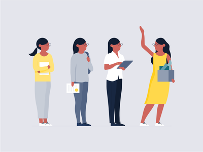 Life Cycle promotion personal development trainee life cycle woman career workplace people work michael mcmahon illustration 2d