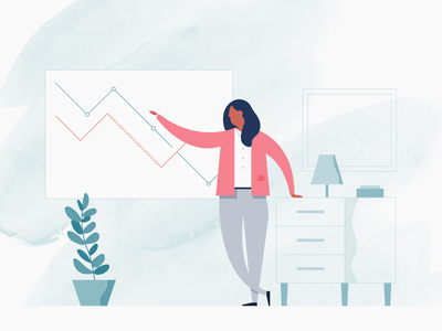 Forecast graph display present forecast trending trend projection future presentation meeting office workplace people work ux ui michael mcmahon illustration 2d