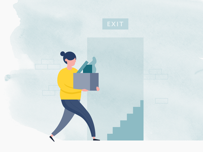Turnover goodbye severed seperate let go unemployed job turnover redundant walk leave exit workplace people work ux ui michael mcmahon illustration 2d