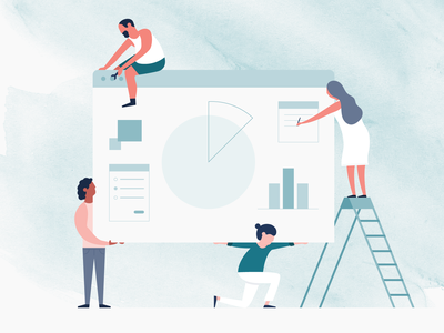 Cooperation cooperate graph demographics teamwork helping together statistics digital workplace people work ux ui michael mcmahon illustration 2d