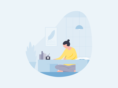 Learning a Language woman calligraphy writing home writing desk language people ux ui michael mcmahon illustration 2d