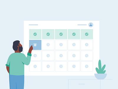 Schedule checklist notification calendar schedule office workplace people work ux ui michael mcmahon illustration 2d