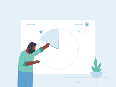 Setting clock alarms notification schedule setting workplace people work ux ui michael mcmahon illustration 2d