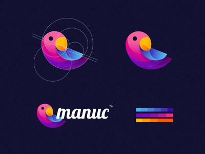 "Bird Logo Design ""Manuc"" golden ratio art amazing logo awesome logo branding business logo creative logo adobe illustrator modern logo logo graphic design abstract animal app logos logotype logodesign"