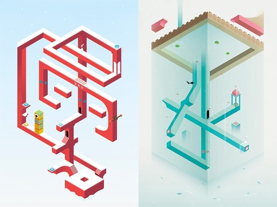 Monument Valley inspired monument valley isometric illustration totem ida water palace winter