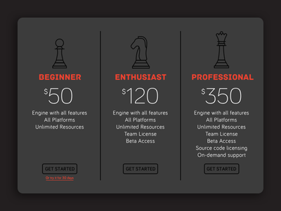 Daily UI 030 – Pricing sketch queen knight pawn chess game engine pricing daily ui 030 daily ui