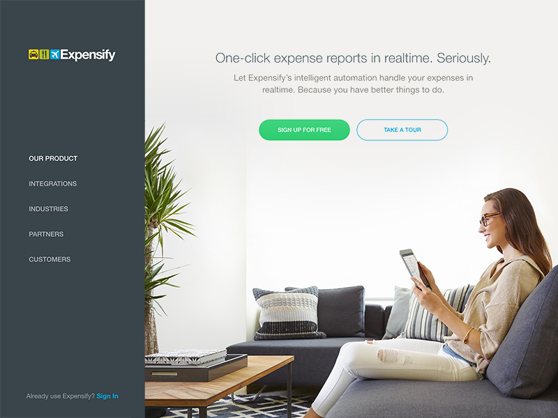 New Use.Expensify.com Site website saas landing page photography